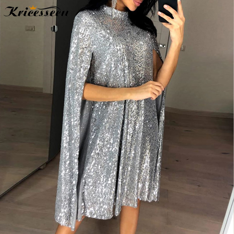 Kricesseen Sexy High Neck Silver Sequin Mini Dress Spring Women Silver Cape Sleeve Bodycon Party Night Club Dress Vestidos