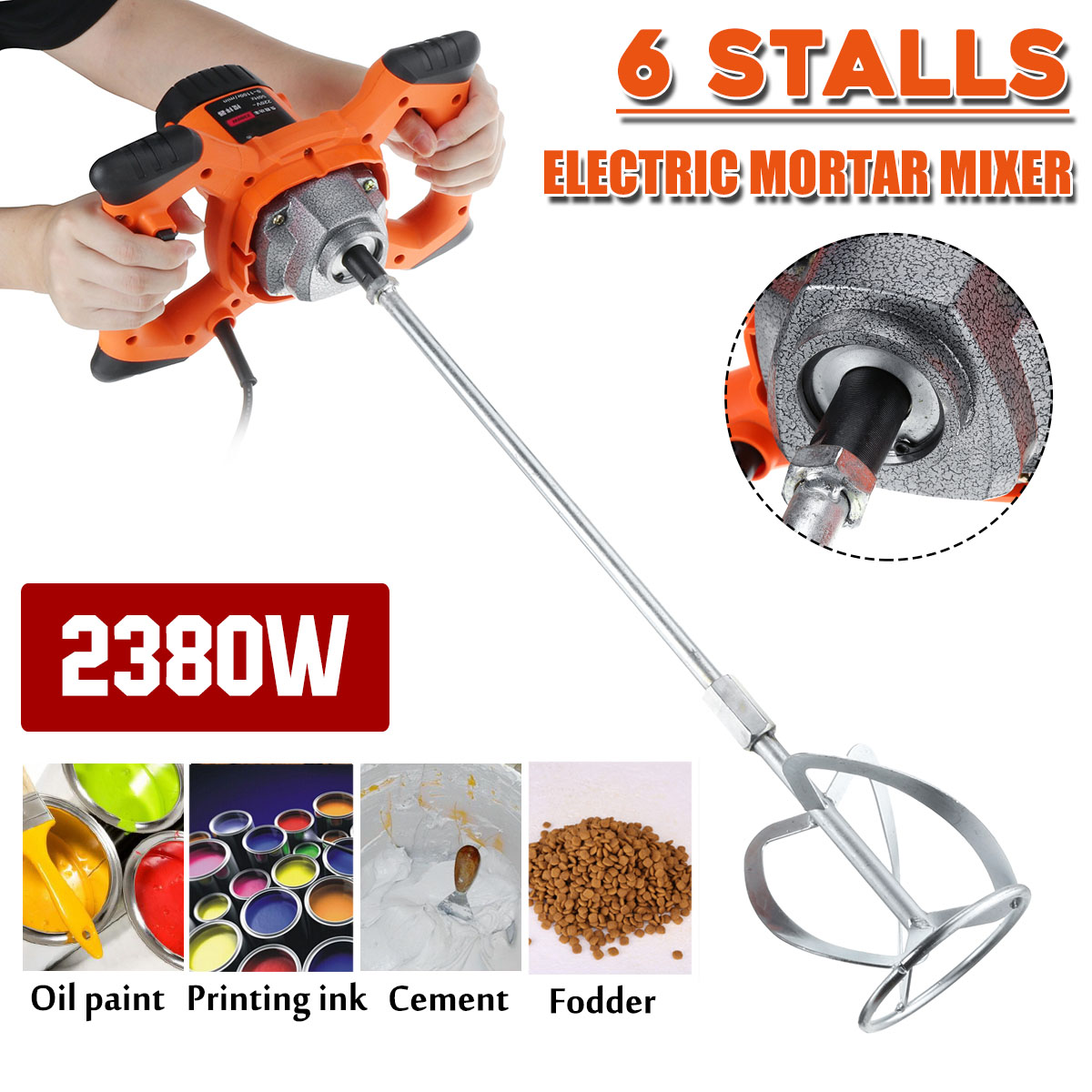 220V 2380W Dual High Low Gear 6 Speed Handheld Paint Cement Grout Electric Mortar Mixer Putty Powder Mixing Machine New