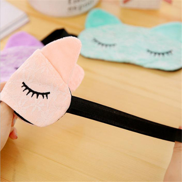 Cute Cartoon Eye Mask Lace 2020 New Korean Kawaii Travel Shading Sleep Eye Mask Small Fresh Exquisite Comfortable Blindfold 5