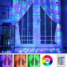3 м светодиодный занавес светильник USB RGB полный Цвет гирлянды светодиодные, отличный подарок на свадьбу, Рождество или Новый год Вечеринка н...