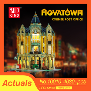 City Street View MOC Building Blocks Compatible lepins 10182 Bricks Corner Post Office Store Model Educational Toys kids gifts(China)