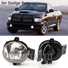 цена на Front fog light for Dodge Ram 1500 2500 3500 2002-2008 Pickup Clear Bumper Driving Fog Lights Kit with fog lomp cover