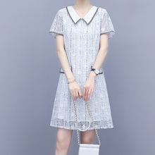 Small fragrance lace dress 2020 new summer short sleeve baby collar with thin temperament