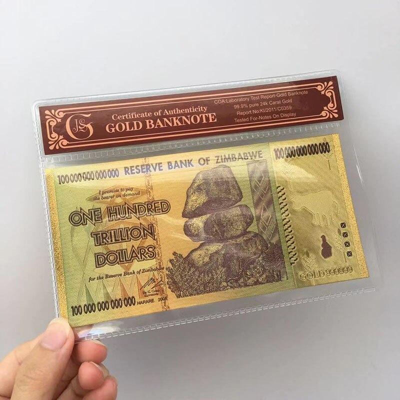 Памятные банкноты в античном стиле из черной золотой фольги 100 триллиона Зимбабве
