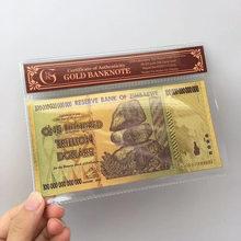 Folha de ouro preta antiga 100 trilhões de notas comemorativas zimbabwe