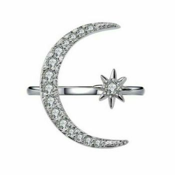 Adjustable Open Ring Crescent Shiny Moon And Tiny Star Rhinestone Crystal Ring For Women Girls Jewlery Gold Silver Rings 5