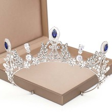FORSEVEN ślubne ozdoby do włosów Handmade Royal Blue kryształowe korony diadem dla panny młodej ślubne nakrycie głowy ślubne akcesoria do włosów JL tanie tanio Ze stopu cynku TRENDY Metal 44420 PLANT Tiary Kobiety