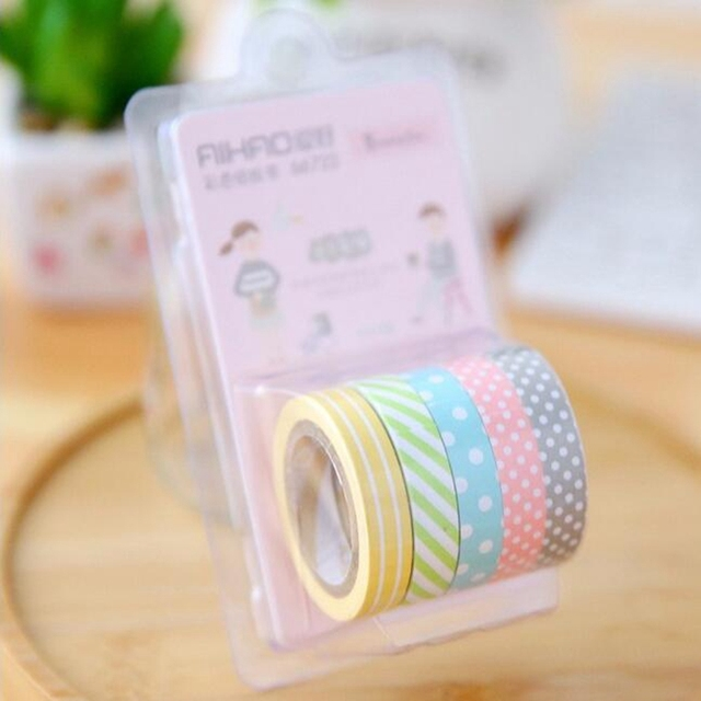 5 rolls candy color cute stripe do