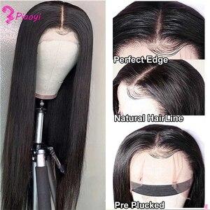 Image 1 - Pelucas de cabello humano con encaje Frontal pelucas de cabello humano liso con cierre de encaje Frontal, Remy brasileño, 150%
