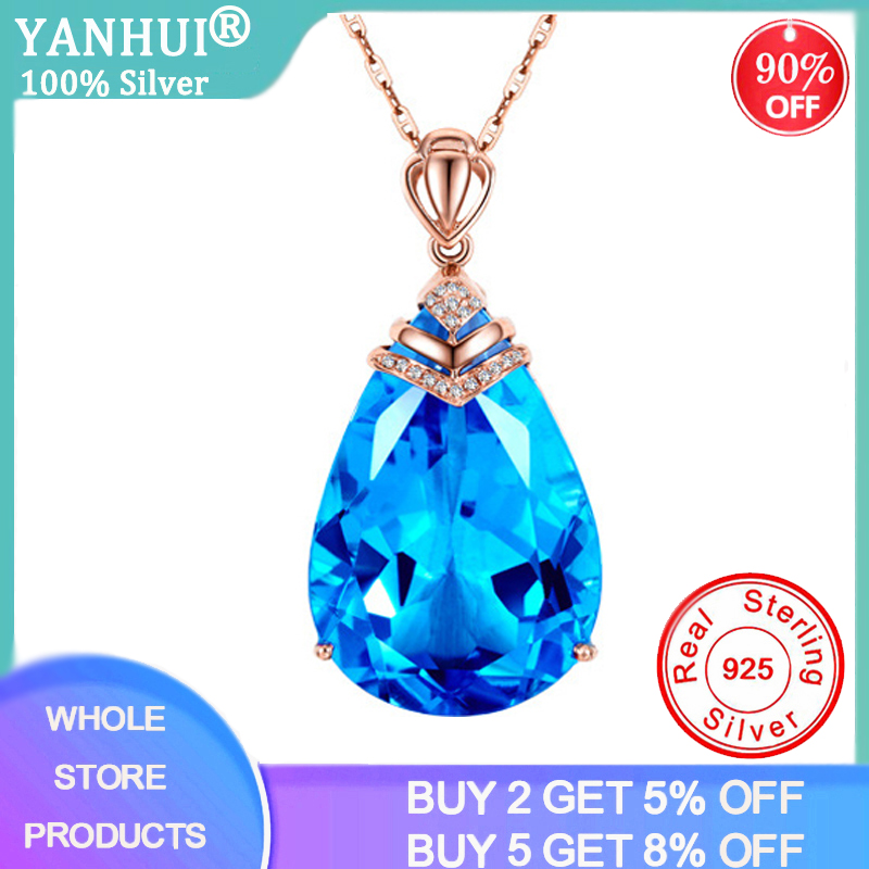 YANHUI Natural Blue Crystal Topaz Pendant Necklace 925 Sterling Silver Gemstones Choker Statement Necklace Women With Box Chain