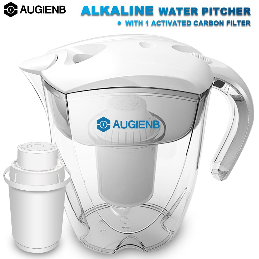 AUGIENB Alkaline Water Pitcher Ionizer Long-Life Filters - Water Filter Purifier Filtration System  - High PH Alkalizer - 3.5L