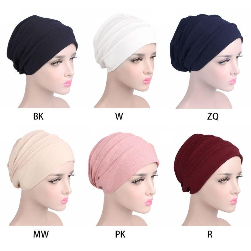 Fashion New Women Cotton Sleep Cap Cancer Beanie Muslim Turban Hair Loss Chemo Hat Pleated For Lady Female 6 Colors