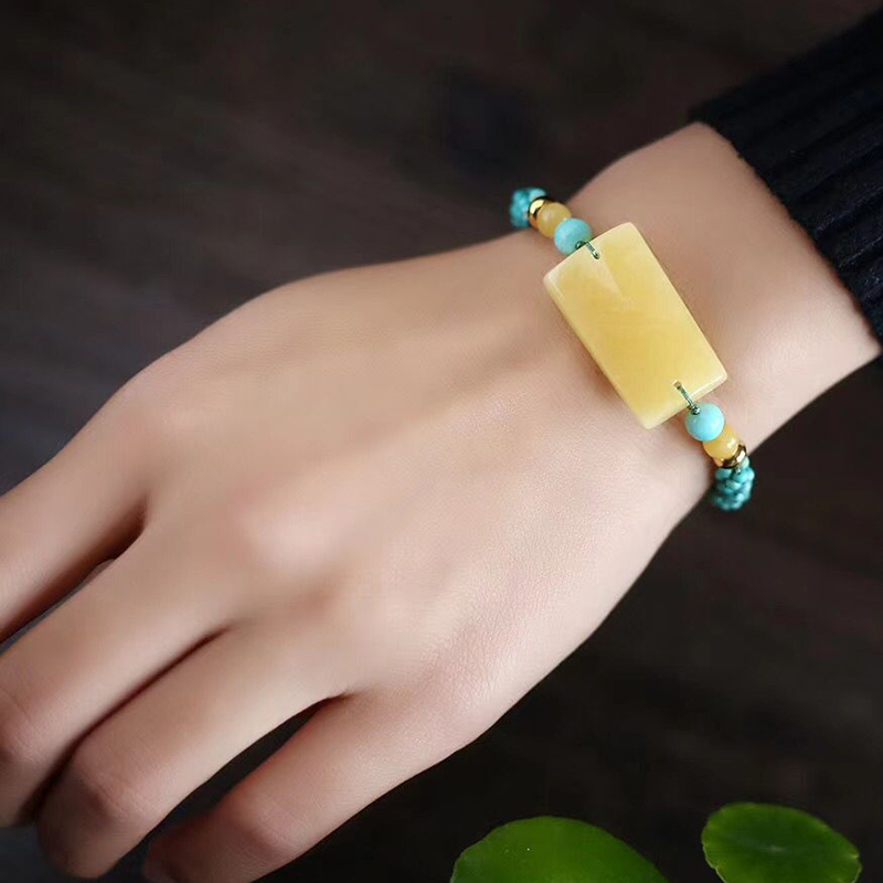 Fine JoursNeige Hand Woven Bracelets Blue Beads with Yellow Natural Stone Bracelets for Women Men Classic Fashion Jewelry - 6