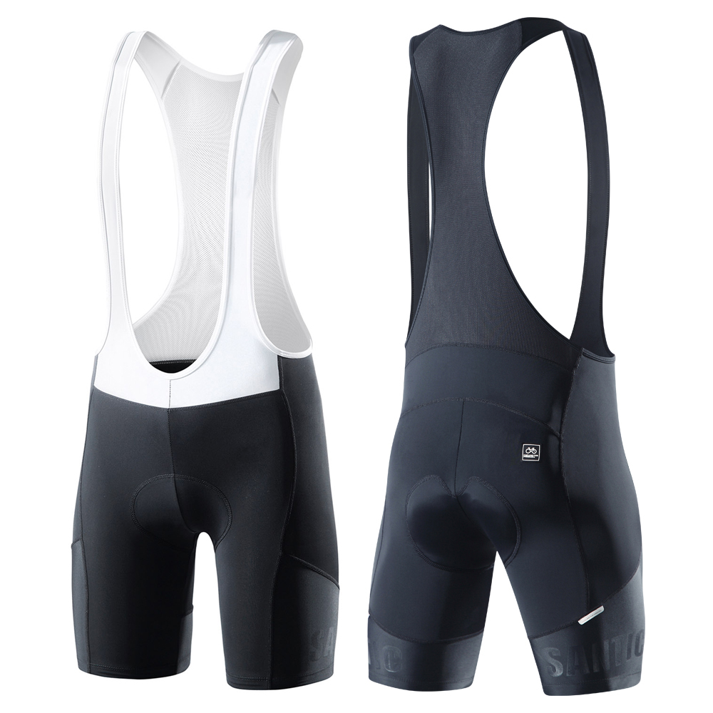 Santic Men Bib Shorts Men Cycling Cool Padded Cycling MTB Shorts Summer Road Ciclismo  Race Bicycle Bottom K7MC033