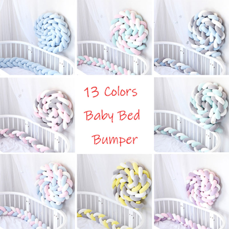 1M/2M/3M Baby Bed Bumper Sides In The Crib Braid Knot Handmade Braid Crib Bumper Newborn Bed Barrier Baby Room Decor