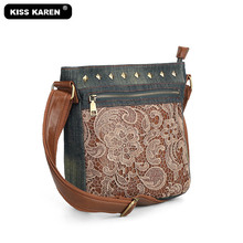 New Arrivals Vintage Flower Lace Women's Shoulder Bags Stylish Women Messenger Bag Fashion Jeans Denim Studded Women Purse Bags kiss karen floral lace women messenger bag vintage fashion studded denim bag women s shoulder bags summer jeans crossbody bags