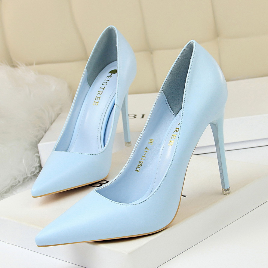 STONE VILLAGE Plus Size 34-43 Hot Women Shoes Pointed Toe Pumps PU Dress High Heels 10.5cm Boat Wedding Office Shoes Women