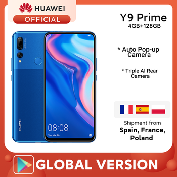 IN STOCK Huawei Y9 Prime 2019 Smartphone AI Triple Rear Cameras Global Version cellphone 4G 128G Auto Pop-Up Front Camera 6.59