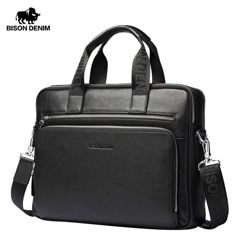 Портфель BISON DENIM из натуральной кожи, 14 дюймов, сумка для ноутбука, мужская деловая сумка через плечо, сумка-мессенджер/сумки на плечо для муж...