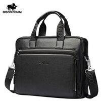 BISON DENIM Genuine leather Briefcases 14 Laptop Handbag Men's Business Crossbody Bag Messenger/Shoulder Bags for Men N2333 3
