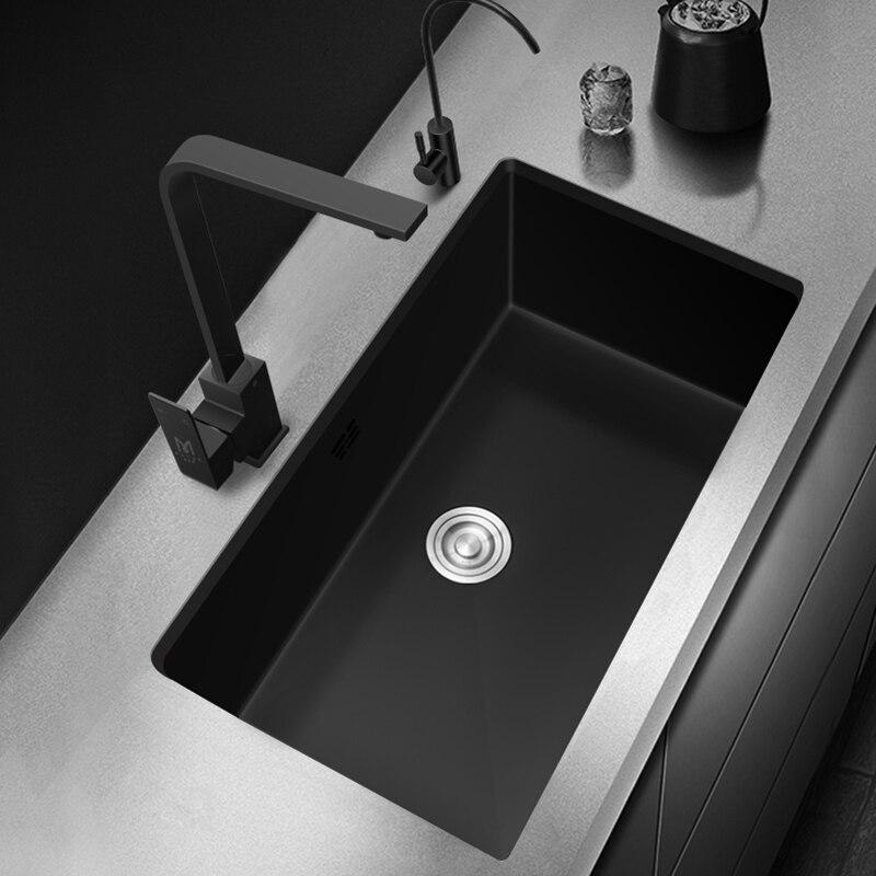 Нано-раковина для кухни с креплением под раковину, Черная кухонная раковина из нержавеющей стали 304, кухонная раковина с одной чашей