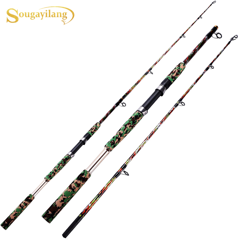 Sougayilang 1.65m Spinning Hand Lure Fishing Rod EVA Handle Ultralight Carbon Fiber Body Travel Camouflage  Color Boat Rod