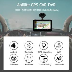 Image 2 - Anfilite H55 7 inch Capacitive Android car GPS Navigator Quad Core 16GB car DVR dash cam dual cameras 1080P record free maps