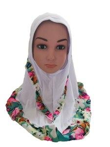 Image 5 - Fashion Kids Children Girls Muslim Flower Islamic Scarf Arabic Shawls Hats Arab Headscarf Head Cover Headwrap Caps Patchwork New