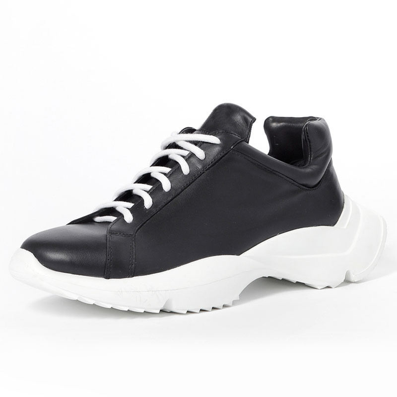 Autumn 2020 New Men Genuine Leather Sneakers Design Thick Platform Trainers Shoes Lace Up Comfortable Top Quality Mans Footwear