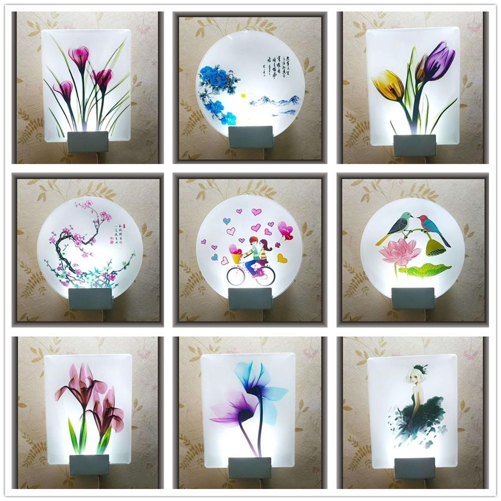 Акриловая настенная светодиодная лампа, креативный светильник с изображением цветов, птиц, сердец, для гостиной, спальни, Детский Светильни...