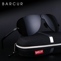 BARCUR Glass Stainless Steel Polarized Sunglasses Men Driving Male Sunglasses oculos Male Eyewear Accessories For Men
