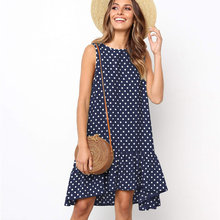 Plus Size 5XL Women Polka Dot Sleeveless Dress Summer Beach Loose Sundress Dresses 2020 Fashion Casual Holiday Lady Clothes(China)