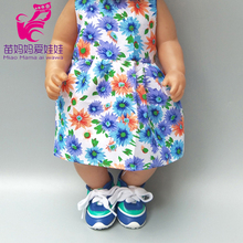 43cm  doll flower long dress with hat for 18 inch girl doll wearing baby girl play doll dress up цены