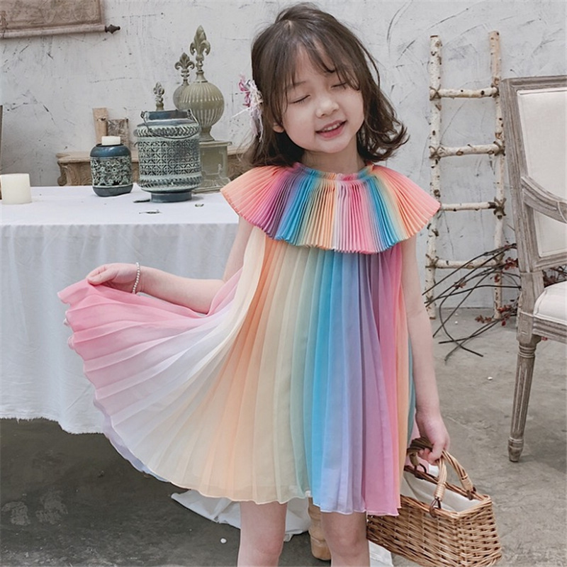 2020 new summer item girl colorful rainbow dress fashion dress