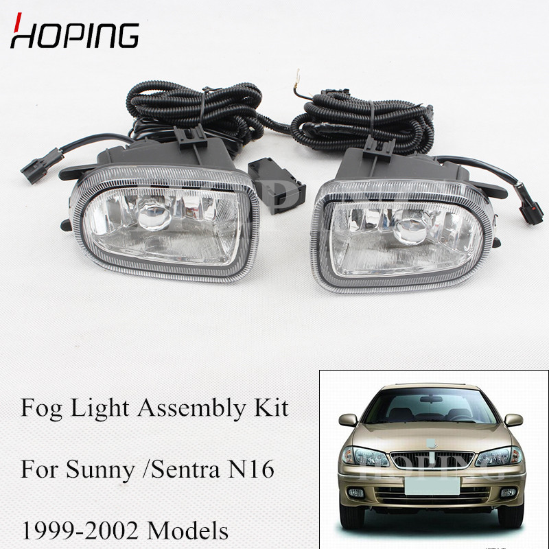 Car Fog Light With Wire Tirm For Nissan Sunny Sentra N16 1999 2000 2001 2002 2003 2004 Fog Lamp Harness Modification Set