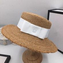 Moda bonnet temperament rafia daszek wakacje na plaży słomkowy kapelusz M standardowe panie elegancki łuk płaskie czapka kapelusz słońce