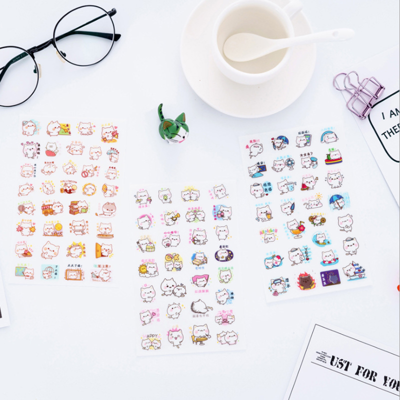 7pcs/lot Cute Happy Cat Life Diary Decorative Planner Stickers DIY Diary Scrapbooking  Seal Stickers