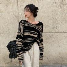 Женский свитер в полоску повседневный Свободный Тонкий вязаный