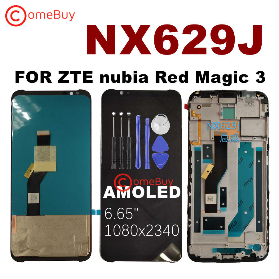NX629J Display For ZTE nubia Red Magic 3 LCD Touch Screen Digitizer With Frame For Nubia