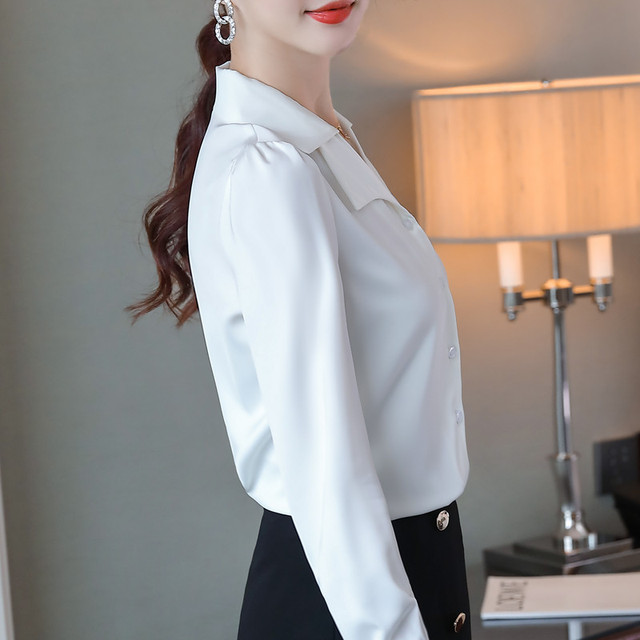 Double Neck Satin Shirt Women Long Sleeve Spring New Temperament Fashion Casual Blouses Office Ladies Formal Work Tops 6