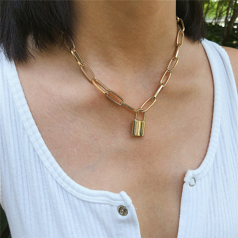 New Hip Hop Simple layer chain necklace with lock women/men punk rock padlock pendant necklace Vintage emo grunge Goth jewelry image