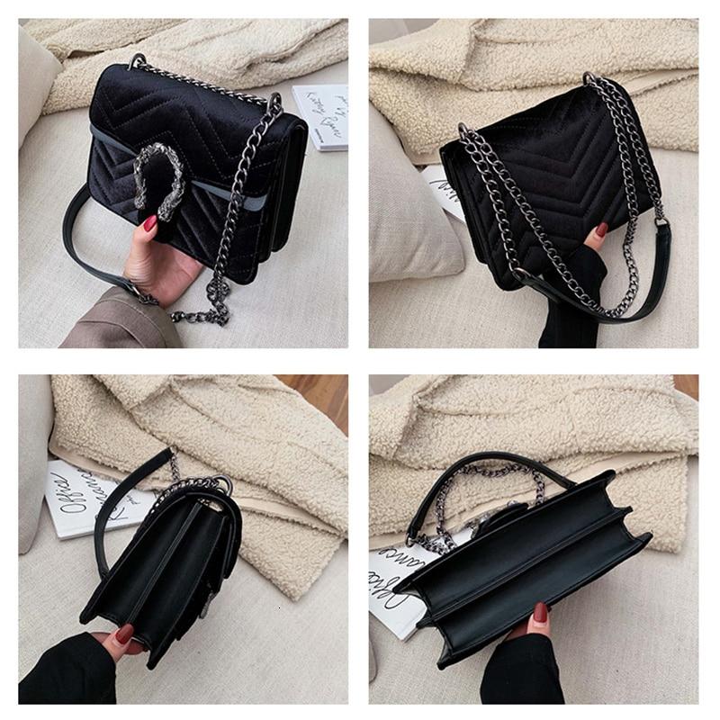 Women Bag Chain Shoulder-Bag Velour Luxury Handbags Crossbody Main Designer Buckle Feminina