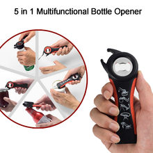 5in1 Multifunctional Bottle Opener All In One Opener Jar Can Kitchen Manual Tool Gadget Multifunction Toy Sports(China)