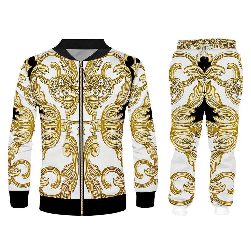 Baroque 3d Men's Tracksuits Sets Luxury Palace Gold Flower Print Zipper Hoodie Sweatpants 2 Piece Set Custom Unisex Clothing