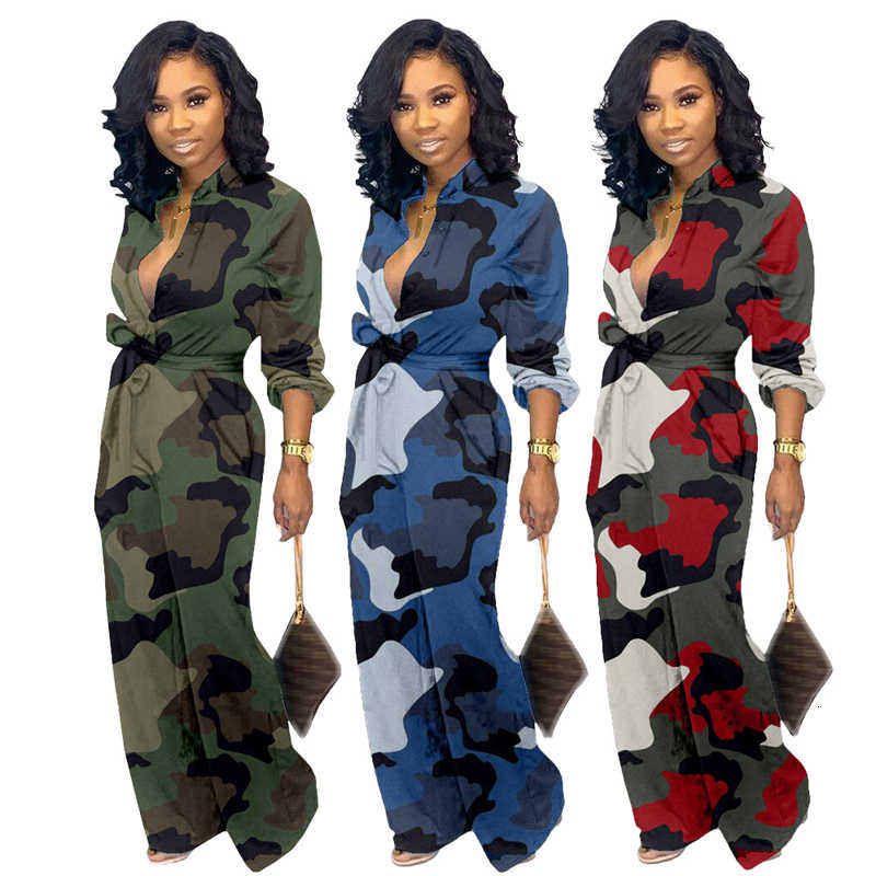 Autumn Women Camouflage Print Long Sleeve  Jumpsuit Turn-down Neck Military wide leg Romper Casual Playsuit one piece overalls