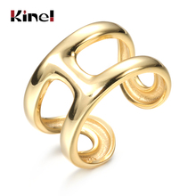 Kinel 925 Sterling Silver 14K Gold H Shape Rings for Woman Jewelry Punk Open Fashion Wedding Party Silver Ring bijoux femme kinel bague real pure 925 sterling silver vintage layered rings for woman jewelry wedding finger open ring bijoux femme
