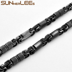 SUNNERLEES 316L Stainless Steel Necklace 6mm Geometric Byzantine Link Chain Retro Black Color Men Women Gift SC42 N