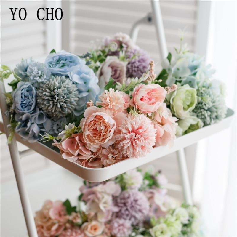 2020 best-selling bridal bouquets artificial flowers silk hydrangea small bouquet decoration fake flowers Wedding bouquet