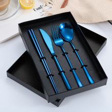 Stainless Steel Korean Long Knife and Fork Spoon Suit Four Pieces of Hotel Gift Tableware