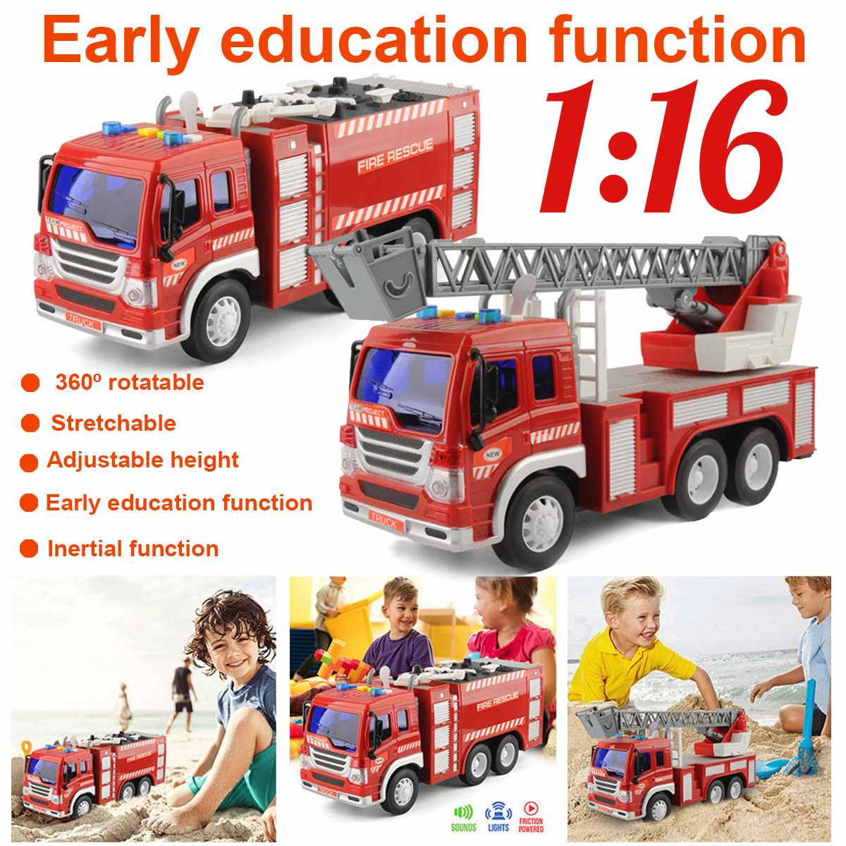 Classics Toys Fire Truck Car Model ABS Vehicles Toys With Light and VoiceFires Fighting Truck Fire 3 Styles Car Kid Toys